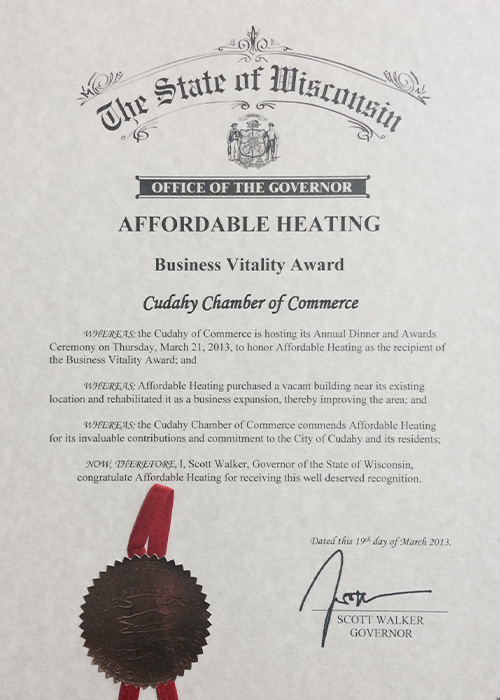 Affordable Heating & Air Conditioning receives the Business Vitality Award in 2013