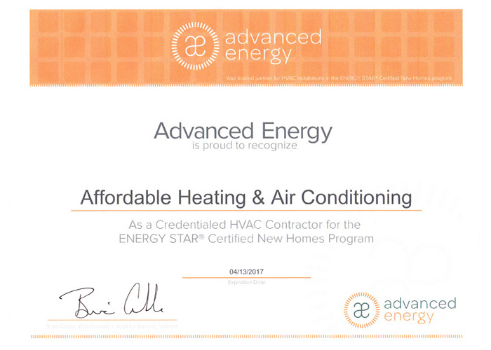 Advanced Energy recognizes Affordable Heating & Air Conditioning as credentialed HVAC contractor for the Energy Star certified new homes program