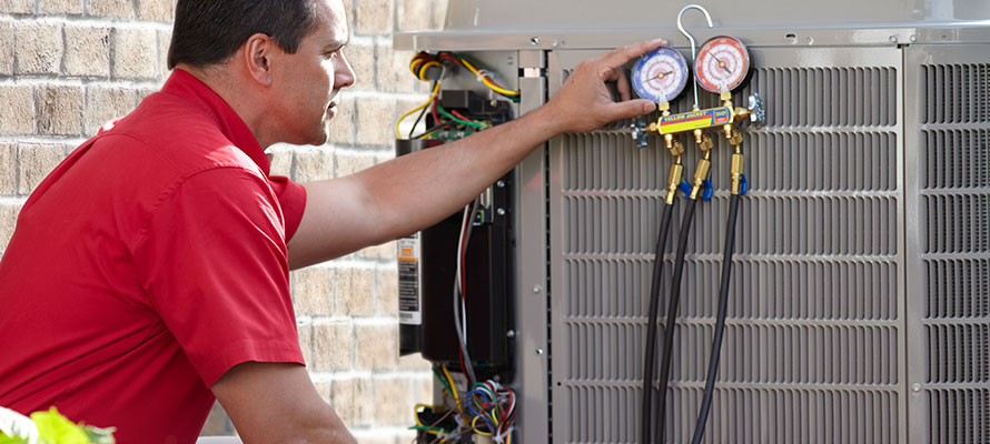 air conditioner maintenance check from tech